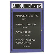 1 Door Outdoor Enclosed Directory Board with Header and Blue Anodized Aluminum Frame - 24