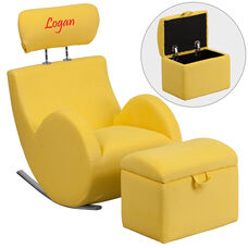 Personalized HERCULES Series Yellow Fabric Rocking Chair with Storage Ottoman