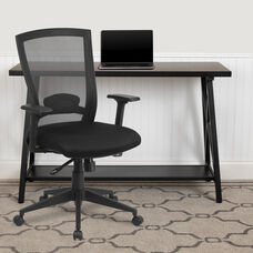 Mid-Back Black Mesh Executive Swivel Ergonomic Office Chair with Back Angle Adjustment and Adjustable Arms