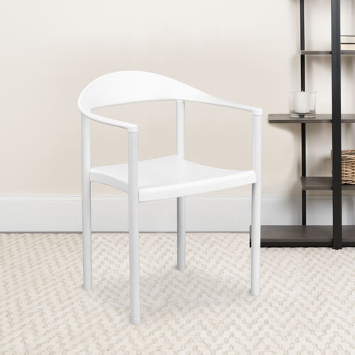 Our HERCULES Series 1000 lb. Capacity White Plastic Cafe Stack Chair is on sale now.