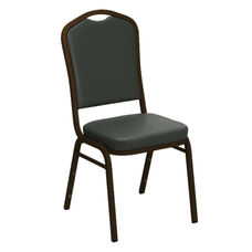 Embroidered Crown Back Banquet Chair in E-Z Montana Smoke Vinyl - Gold Vein Frame