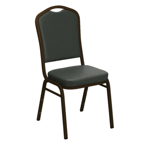 Our Embroidered Crown Back Banquet Chair in E-Z Montana Smoke Vinyl - Gold Vein Frame is on sale now.