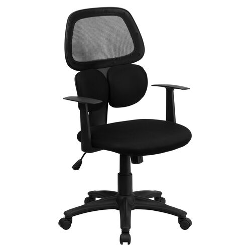 Our Mid-Back Black Mesh Swivel Task Office Chair with Flexible Dual Lumbar Support and Arms is on sale now.
