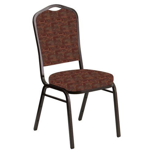 Our Embroidered Crown Back Banquet Chair in Perplex Persimmon Fabric - Gold Vein Frame is on sale now.