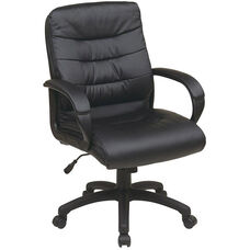 Work Smart Mid Back Faux Leather Executive Chair with Padded Loop Arms - Black