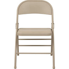 Work Smart Folding Chair with Metal Seat and Back - Set of 4 - Tan