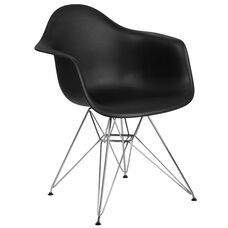 Alonza Series Black Plastic Chair with Chrome Base