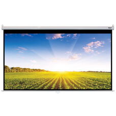 White Wall Mountable Pull-Down Projection Screen with Matte White Fabric Screen and White Aluminum Housing - 118