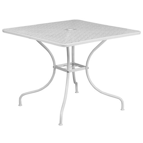 """Our Commercial Grade 35.5"""" Square White Indoor-Outdoor Steel Patio Table is on sale now."""