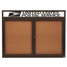 2 Door Indoor Illuminated Enclosed Bulletin Board with Header and Bronze Anodized Aluminum Frame - 36