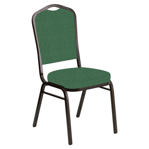 Our Embroidered Crown Back Banquet Chair in Phoenix Loden Fabric - Gold Vein Frame is on sale now.