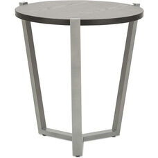 Alera® Round Occasional Corner Table with Silver Metal Frame and Laminate Top - 21.25'' Dia x 22.88''H - Black
