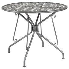 "Agostina Series 35.25"" Round Antique Silver Indoor-Outdoor Steel Patio Table"