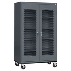 See-Thru Series 46'' W x 24'' D x 78'' H Expanded Metal Front Transport Mobile Cabinet - Charcoal