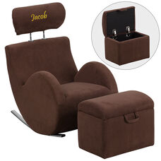Personalized HERCULES Series Brown Fabric Rocking Chair with Storage Ottoman
