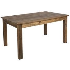 "60"" x 38"" Rectangular Antique Rustic Solid Pine Farm Dining Table"