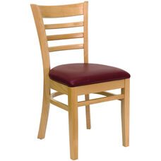 Natural Wood Finished Ladder Back Wooden Restaurant Chair with Burgundy Vinyl Seat