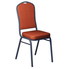 Embroidered Biltmore Calypso Fabric Upholstered Crown Back Banquet Chair - Silver Vein Frame