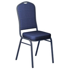 Embroidered Biltmore Patriot Blue Fabric Upholstered Crown Back Banquet Chair - Silver Vein Frame