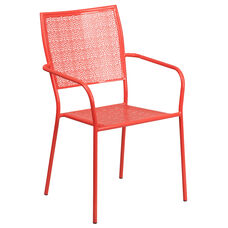 Commercial Grade Coral Indoor-Outdoor Steel Patio Arm Chair with Square Back