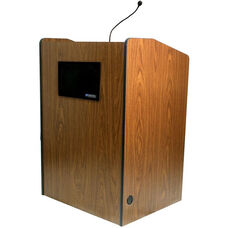 Multimedia Wired 150 Watt Sound Presentation Podium - Walnut Finish - 33