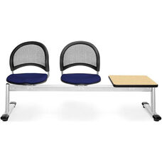 Moon 3-Beam Seating with 2 Navy Fabric Seats and 1 Table - Oak Finish