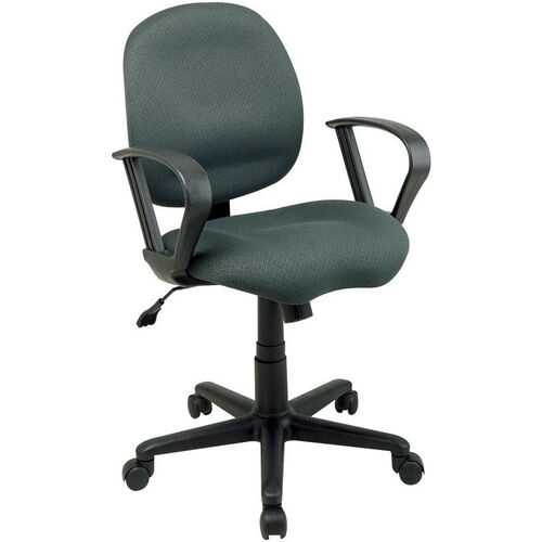 Work Smart Sculptured Task Chair with Contemporary Loop Arms and Casters