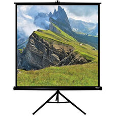 White and Black Portable Height Adjustable Tripod Projection Screen with Matte White Fabric Screen and Black Steel Casing - 60