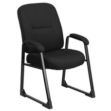 HERCULES Series Big & Tall 400 lb. Rated Black Fabric Executive Side Chair with Sled Base