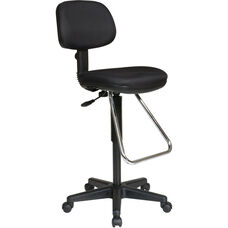 Work Smart Economical Chair with Chrome Teardrop Footrest - Icon Black