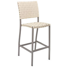 St. Augustine Collection Indoor/Outdoor Barstool with Mesh Belt Seat and Back -Taupe Frame and Khaki Seat