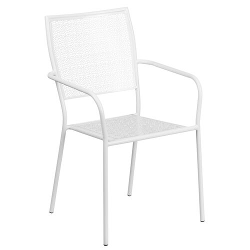 Our White Indoor-Outdoor Steel Patio Arm Chair with Square Back is on sale now.