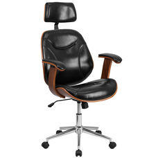 High Back Black Leather Executive Wood Swivel Chair with Arms