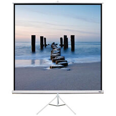 White Portable Height Adjustable Tripod Projection Screen with Matte White Fabric Screen and White Steel Casing - 80