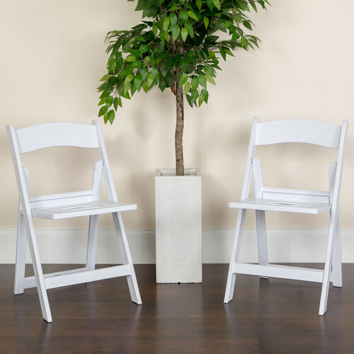 HERCULES Series 1000 lb. Capacity White Resin Folding Chair with Slatted Seat