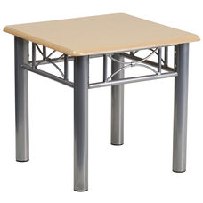 Natural Laminate End Table with Silver Steel Frame