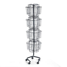Safco® Wire Rotary Display Racks - 32 Compartments - 15w x 15d x 60h - Charcoal