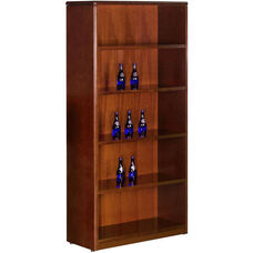 OSP Furniture Sonoma Wood 5-Shelf Bookcase - Cherry