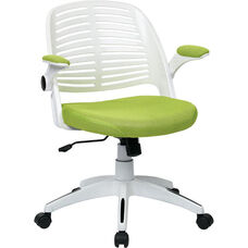 Ave Six Tyler White Frame and Mesh Fabric Seat Office Chair with Padded Armrests and Casters - Green