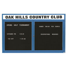 2 Door Indoor Enclosed Directory Board with Header and Blue Anodized Aluminum Frame - 36