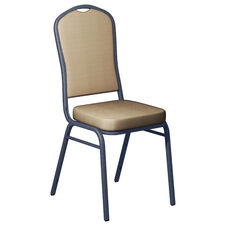 Embroidered Biltmore Butternut Fabric Upholstered Crown Back Banquet Chair - Silver Vein Frame