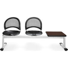 Moon 3-Beam Seating with 2 Black Plastic Seats and 1 Table - Mahogany Finish