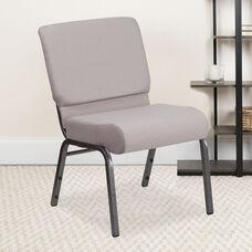 HERCULES Series 21''W Church Chair in Gray Dot Fabric - Silver Vein Frame