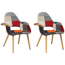Morza Chair with Wood Legs and Patchwork Seat - Set of 2