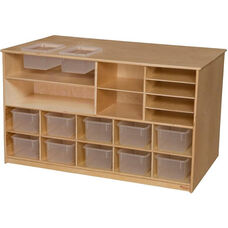 Wooden Mobile Storage Island with 12 Clear Plastic Trays - 29