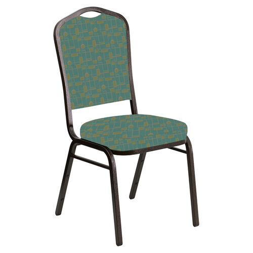 Our Embroidered Crown Back Banquet Chair in Circuit Turquoise Fabric - Gold Vein Frame is on sale now.