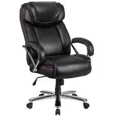 HERCULES Series Big & Tall 500 lb. Rated Black Leather Executive Swivel Chair with Extra Wide Seat