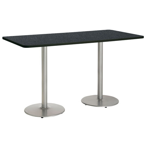 """36""""W x 96""""D Rectangular Laminate Bistro Height Pedestal Table with Graphite Nebula Top - Silver Round Base"""