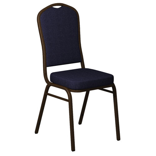 Our Embroidered Crown Back Banquet Chair in Sherpa Keydet Blue Fabric - Gold Vein Frame is on sale now.