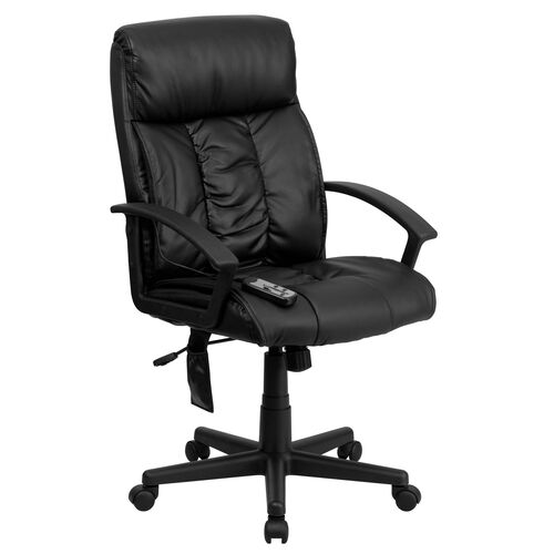 Our High Back Ergonomic Massaging Black Leather Executive Swivel Office Chair with Side Remote Pocket and Arms is on sale now.